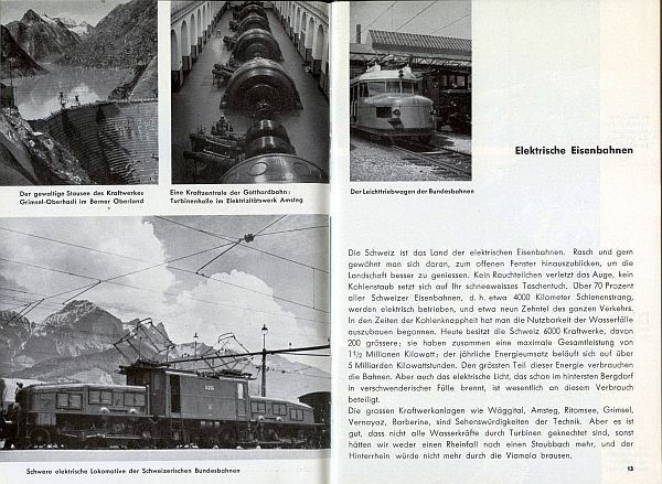 Der Kleine Schweizer Führer, 1935. Inside View Six with Railroad Engines featured in other Swiss Travel Brochures of the era, especially the modern one on the upper right