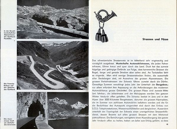 Der Kleine Schweizer Führer, 1935. Inside View Seven - Herbert Matter would create a number of photomontages and posters of the winding road in the center photo